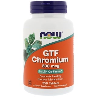 Now Foods, GTF Chrom, 200 ╡g, 250 Tabletten