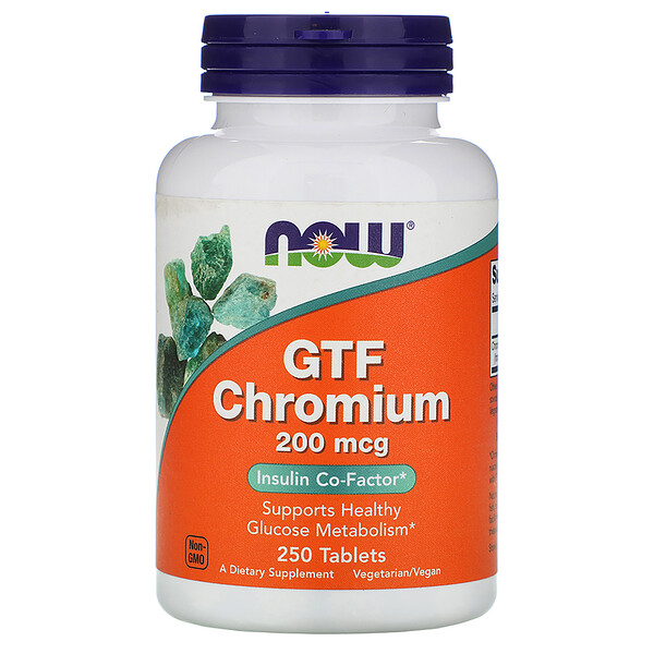 Now Foods, GTF Chromium, 200 мкг, 250 таблеток