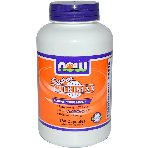 Now Foods, Super Citrimax with ChromeMate, Extra Strength, 750 mg, 180 Capsules (Discontinued Item)