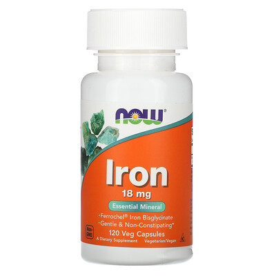 Купить Now Foods Железо, 18 мг, 120 растительных капсул