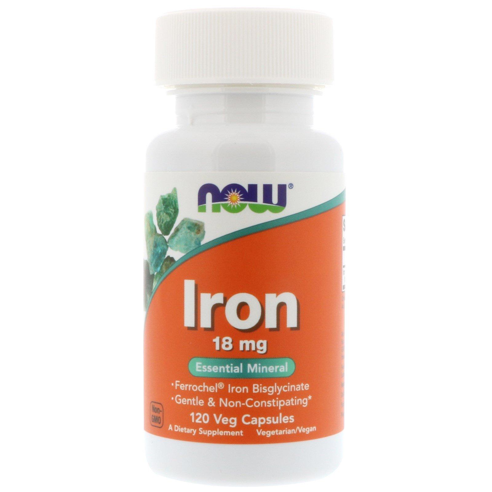 Now Foods, Iron, 18 мг, 120 вегетарианских капсул