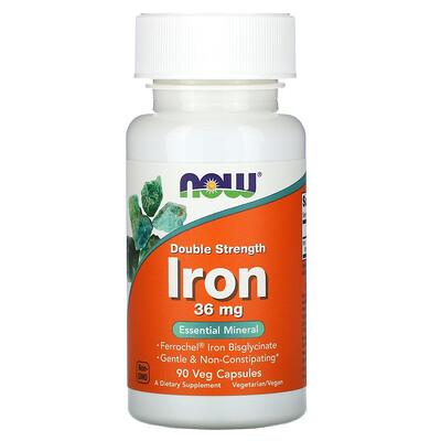 Купить Now Foods Железо, двойной концентрации, 36 мг, 90 растительных капсул
