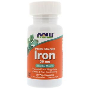 Now Foods, Железо, двойная сила, 36 мг, 90 растительных капсул инструкция, применение, состав, противопоказания