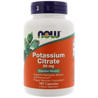 Now Foods, Citrato de Potasio, 99 mg, 180 Cápsulas