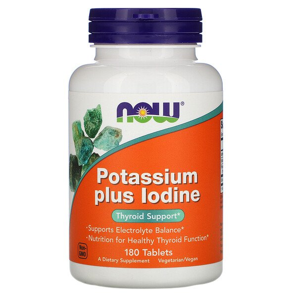 Now Foods, Potassium Plus Iodine, Kalium und Jod, 180 Tabletten