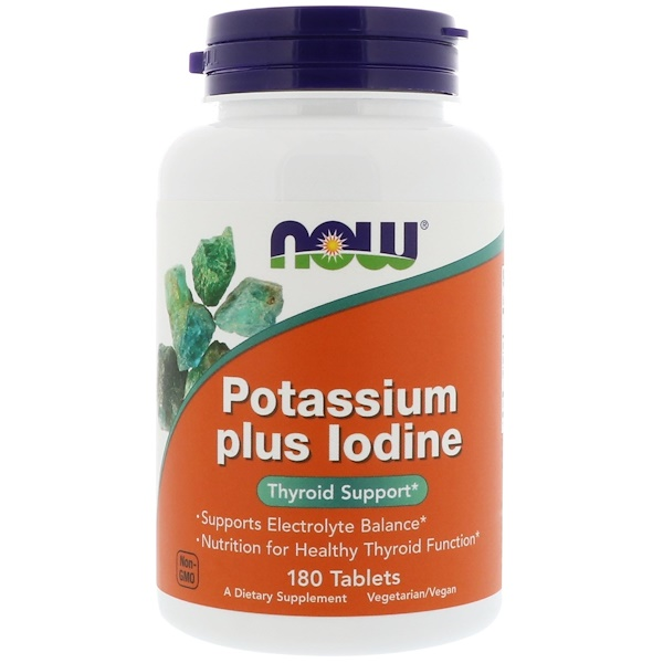 Now Foods, Potassium Plus Iodine, 180 Tablets