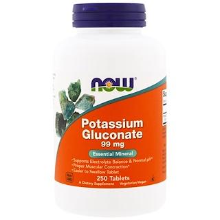 Now Foods, Глюконат калия, 99 мг, 250 таблеток
