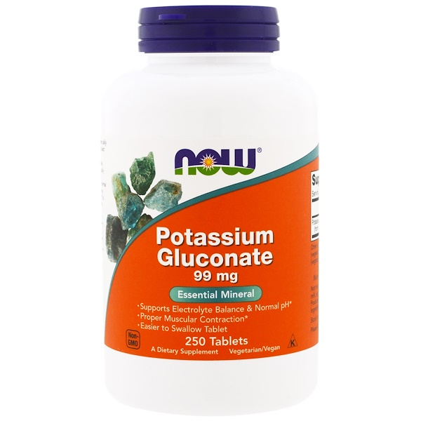 Now Foods, Potassium Gluconate, 99 mg, 250 أقراص
