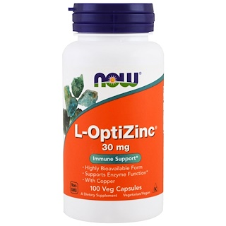 Now Foods, L-OptiZinc, 30 мг, 100 вегетарианских капсул