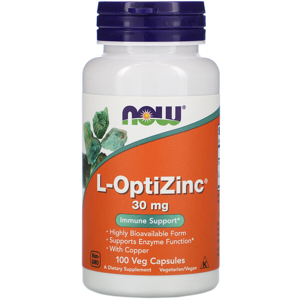 Now Foods, L-OptiZinc, 30 mg, 100 cápsulas vegetales