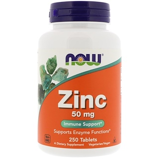 Now Foods, Zinco, 50 mg, 250 Tabletes