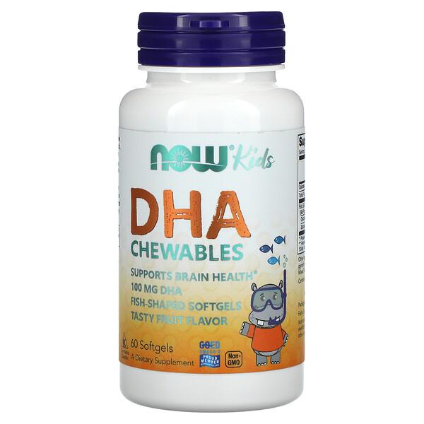 Now Foods, Kid's Chewable DHA, Tasty Fruit Flavor, 60 Softgels