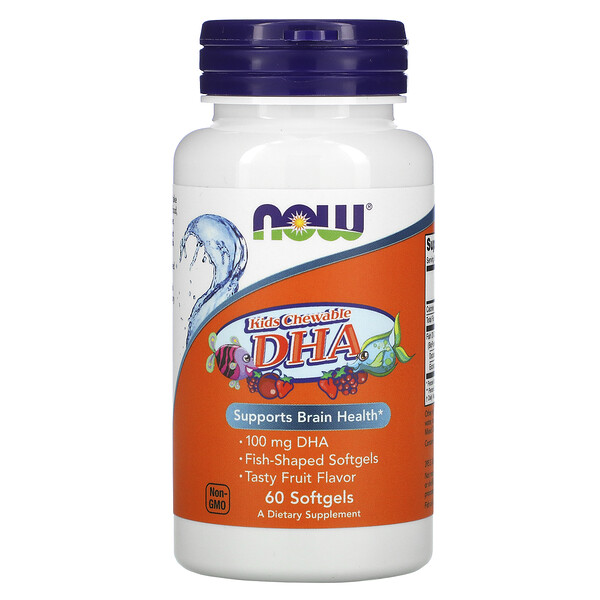 Now Foods, Kid's Chewable DHA, Tasty Fruit Flavor, 60 Softgels