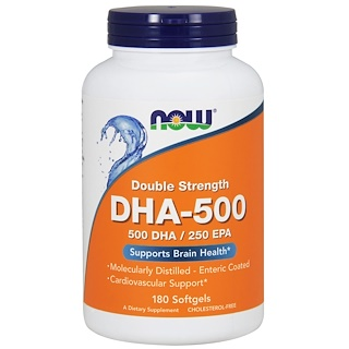Now Foods, DHA-500/EPA-250, double force, 180 gélules