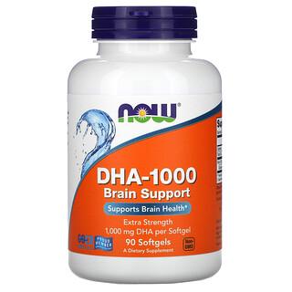 Now Foods, DHA-1000 для улучшения работы мозга, с повышенной силой действия, 1000мг, 90мягких таблеток