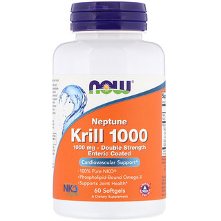 Now Foods, Neptune Krill 1000, Double Strength, 1000 mg, 60 Softgels