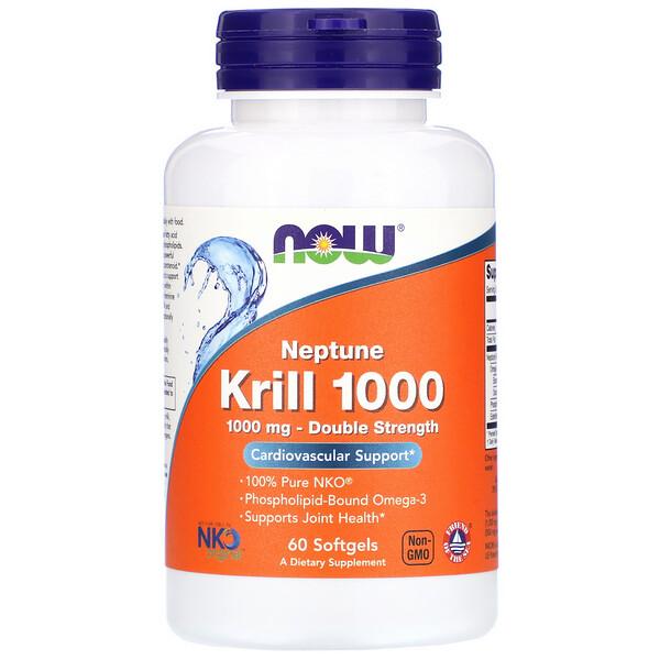 Now Foods, Neptune Krill 1000، عدد 60 كبسولة جيلاتينية