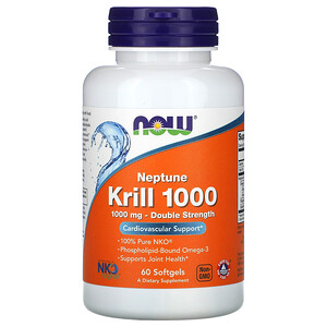 Now Foods, Neptune Krill 1000, Double Strength, 1,000 mg, 60 Softgels отзывы покупателей