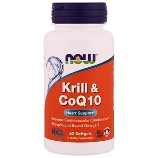 Now Foods, Krill & CoQ10, 60 Softgels