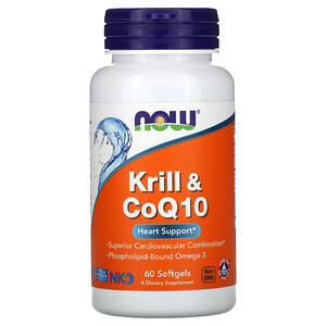 Now Foods, Krill & CoQ10, 60 Softgels отзывы
