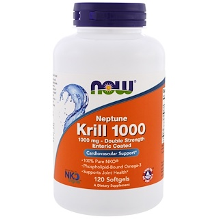 Now Foods, Neptune Krill 1000, 1000 mg, 120 Softgels