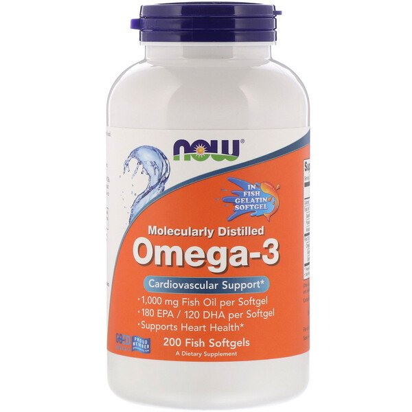 Now Foods, Molecularly Distilled Omega-3, 180 EPA/120 DHA, 200 Fish Softgels