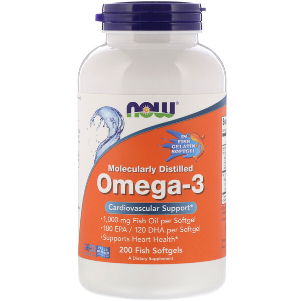 Molecularly Distilled Omega-3, 200 Fish Softgels