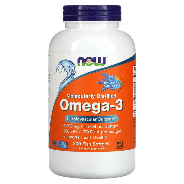 Now Foods, Molecularly Distilled Omega-3, 200 Fish Softgels