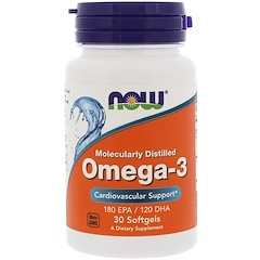 Now Foods, Omega-3, Molecularly Distilled, 30 Softgels