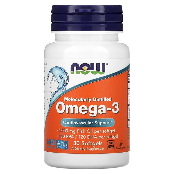 Omega-3, Molecularly Distilled, 30 Softgels