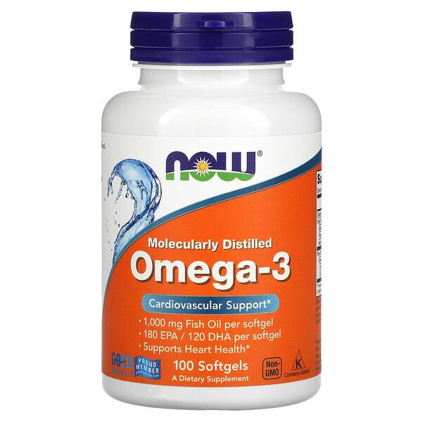 Now Foods, омега-3, очищена на молекулярному рівні, 100капсул