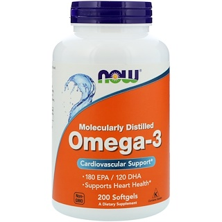 Now Foods, Omega-3, 200 cápsulas softgels