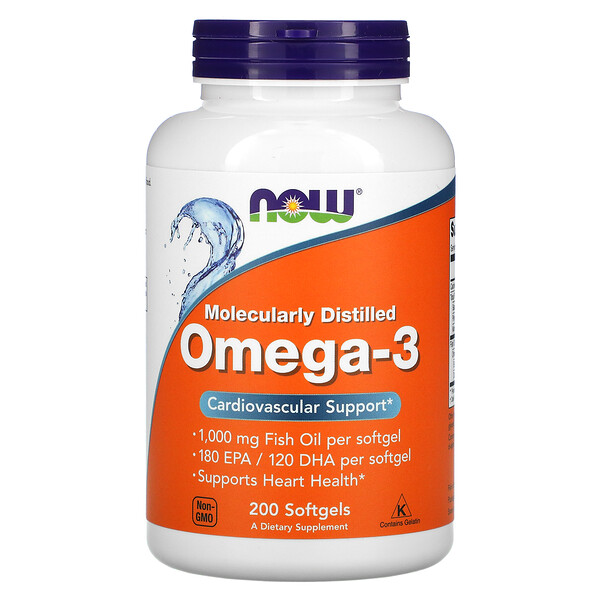 Now Foods, Molecularly Distilled Omega-3, 200 Softgels