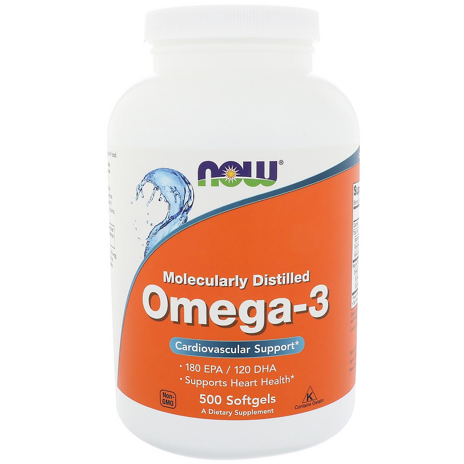 Now Foods, Омега-3, 180 EPA/120 DHA, 500 желатиновых капсул
