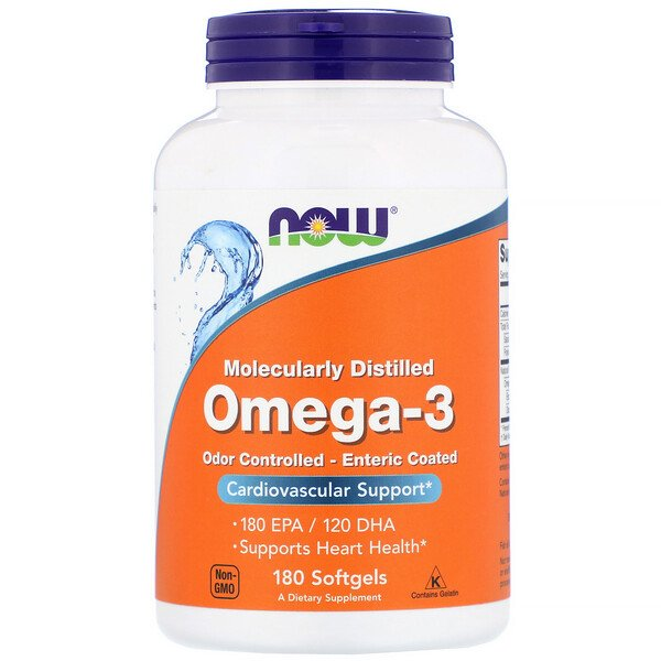Omega-3, Molecularly Distilled, 180 Softgels