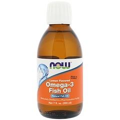 Now Foods, Рыбий жир с Омега-3, Лимонный вкус, 7 жидких унций (200 мл)