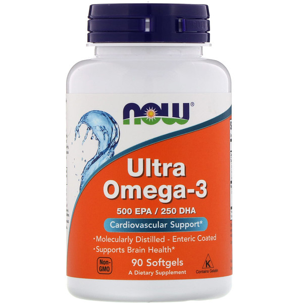 Now Foods, Ultra oméga-3, 500 EPA/250 DHA, 90 gélules
