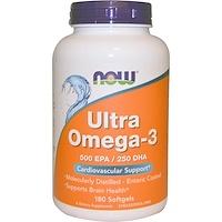 Ultra Omega-3, 500ЭПК/250ДГК, 180мягких таблеток - фото