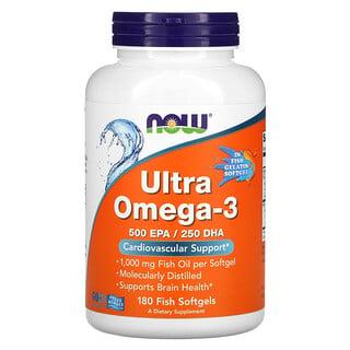 Now Foods, Ultra Omega-3, 500 EPA/250 DHA, 180 Fish Softgels