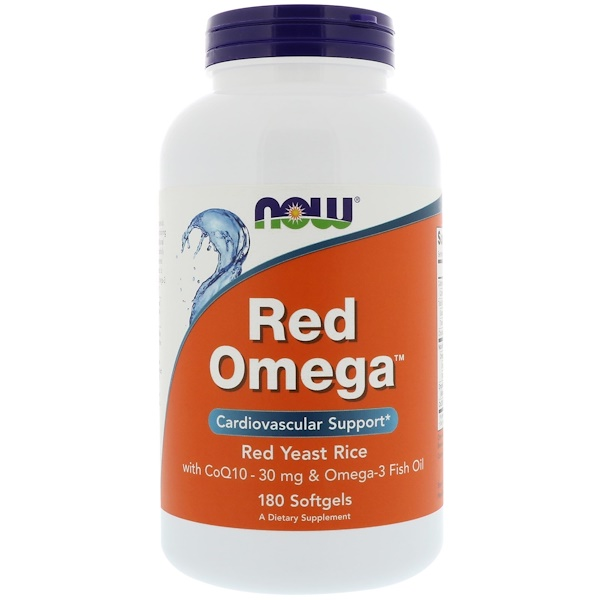 Now Foods, Red Omega, Red Yeast Rice with CoQ10, 30 mg, 180 Softgels