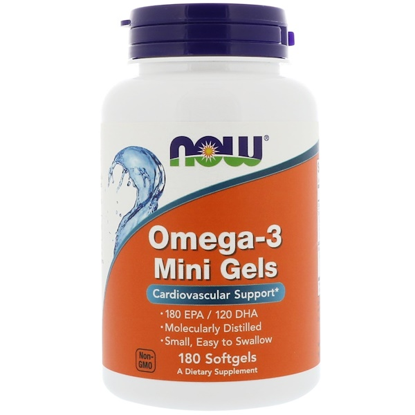 Now Foods, Mini Gels de Omega 3, 180 cápsulas blandas