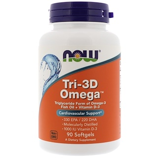 Now Foods, Tri-3D Omega, 90 Cápsulas de Softgel