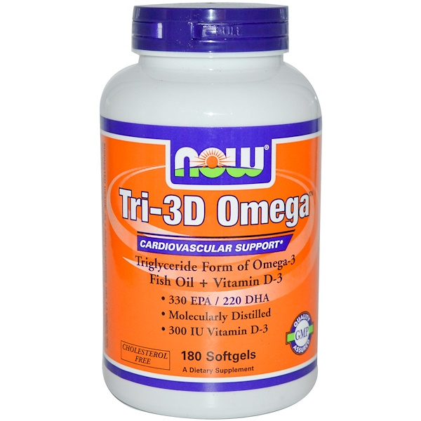 Now Foods, Три-3D Омега 180 гелевых капсул (Discontinued Item)