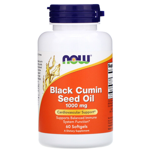 Now Foods, Black Cumin Seed Oil, 1,000 mg, 60 Softgels