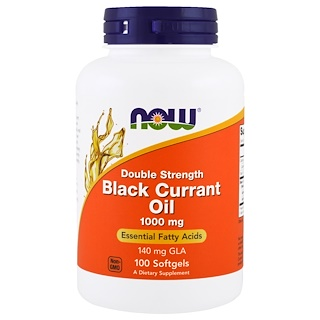 Now Foods, Black Currant Oil, Double Strength, 1000 mg, 100 Softgels
