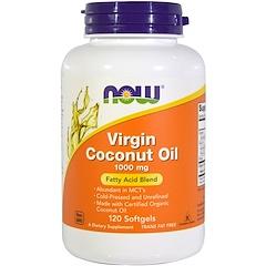 Now Foods, Кокосовое масло первого отжима, 1000 мг, 120 желатиновых капсул