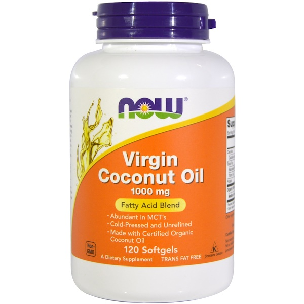 Now Foods, Virgin Coconut Oil, 1000 ملغ, 120 كبسولة