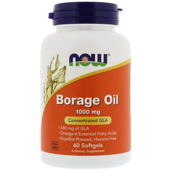 Now Foods, Borage Oil, Concentration GLA, 1000 mg, 60 Softgels