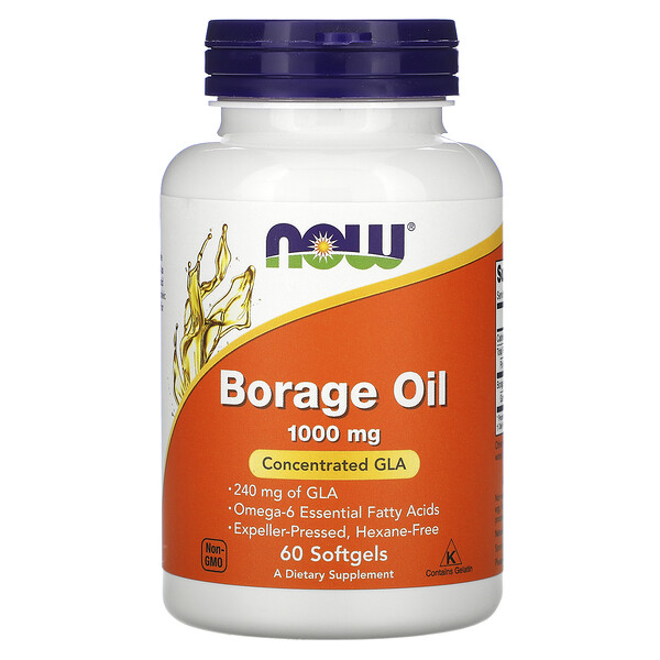 Now Foods, Borage Oil, Concentration GLA, 1,000 mg, 60 Softgels
