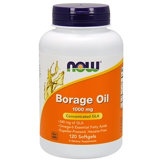 Now Foods, Borage Oil, Highest GLA Concentration, 1000 mg, 120 Softgels